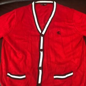 Selling this red express cardigan.